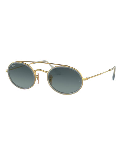 Men's RB3847 Oval Double-Bridge Sunglasses with Gradient Lenses