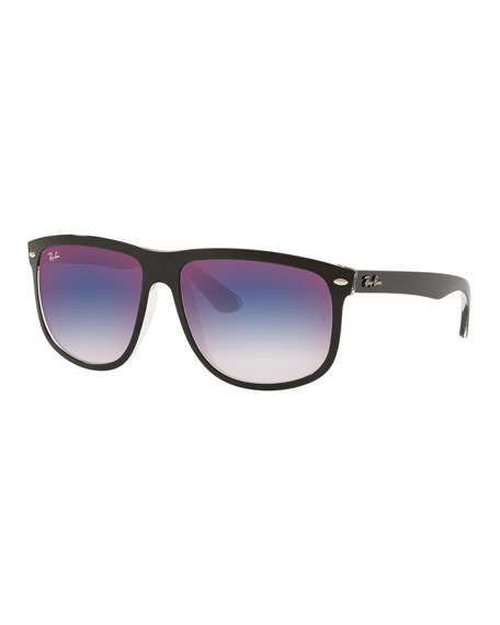 Men's RB4147 Mirrored Flat-Top Plastic Sunglasses