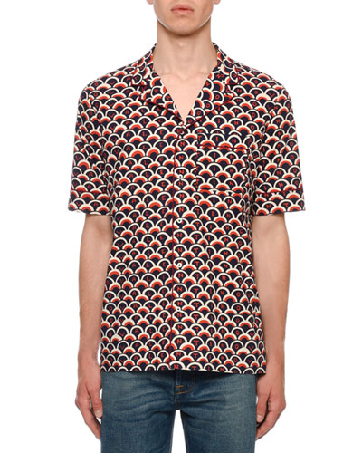 Men's Retro Logo Scales Short-Sleeve Sport Shirt