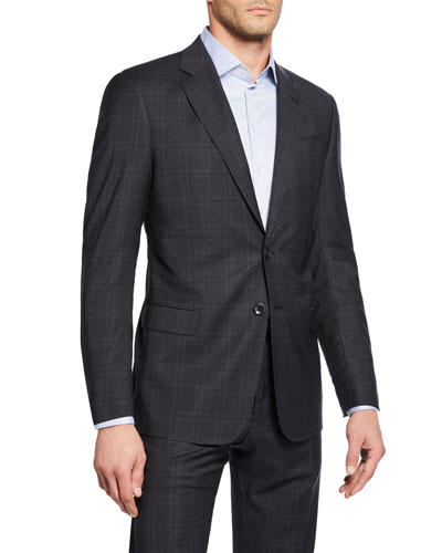 Men s Melange Windowpane Plaid Two-Piece Suit Quick Look. Giorgio Armani e35b2d0b7452