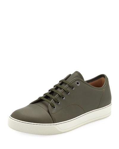 Men's Cap-Toe Napa Leather Low-Top Sneakers