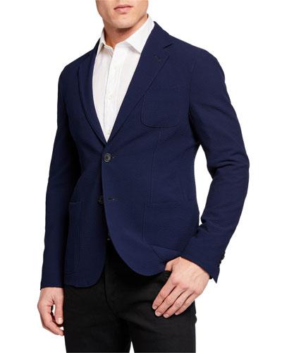 Men's Solid Stretch Seersucker Sport Jacket