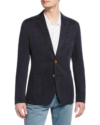 Men's Tonal Pinstripe Cupro Two-Button Jacket
