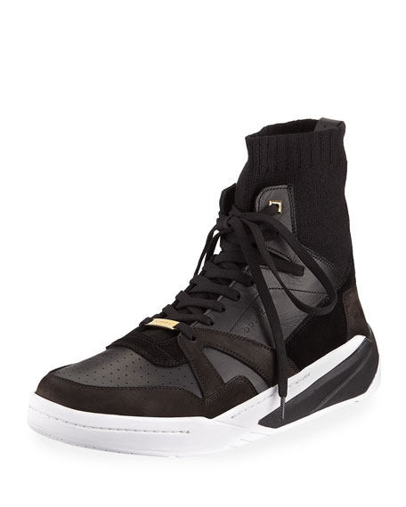 Buscemi Men's 150mm Leather High-Top Sock Sneakers