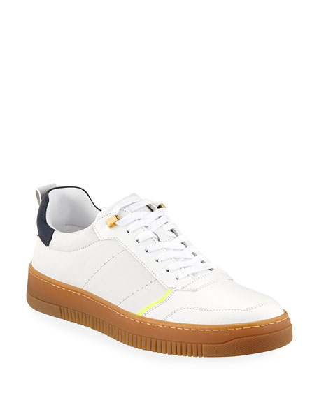 Buscemi MEN'S DOME LEATHER LOW-TOP SNEAKERS