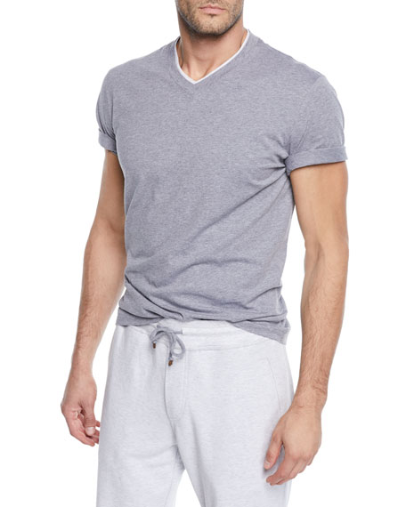 Men's Tipped Jersey Knit V-Neck T-Shirt