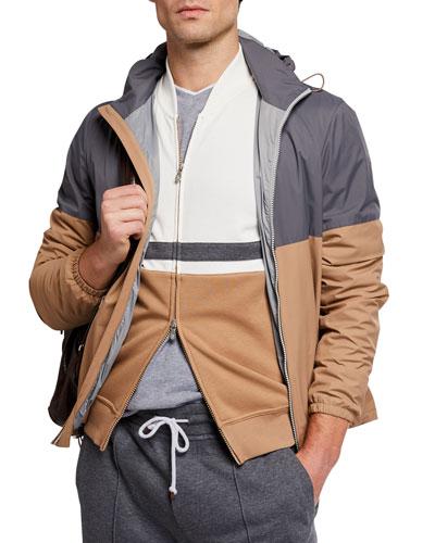 Men's Colorblock Zip-Front Coat w/ Packable Hood