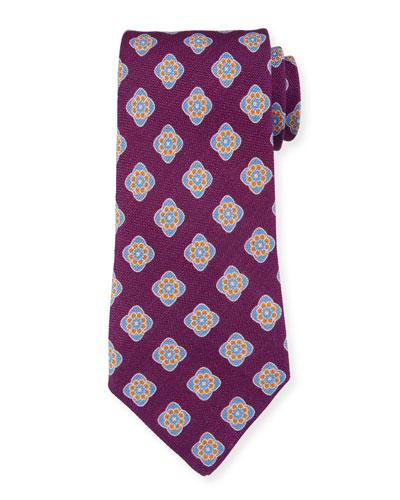 Bali Large-Medallion Linen Tie  Purple