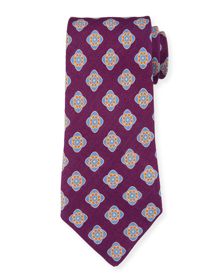 Petronius 1926 Bali Large-Medallion Linen Tie, Purple