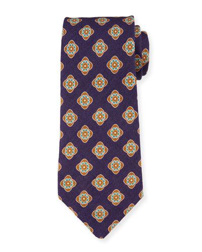 Bali Large-Medallion Linen Tie  Blue
