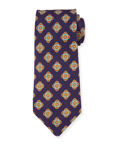 Petronius 1926 Bali Large-Medallion Linen Tie, Blue