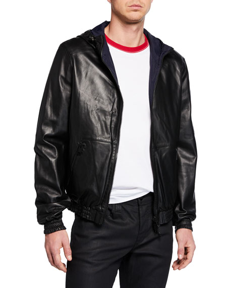 Yves Salomon Jackets MEN'S REVERSIBLE LEATHER/NYLON HOODIE JACKET