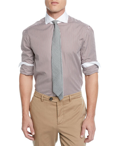 Men's Poplin Striped Dress Shirt