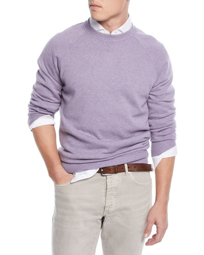 Men's Raglan-Sleeve Crewneck Sweater