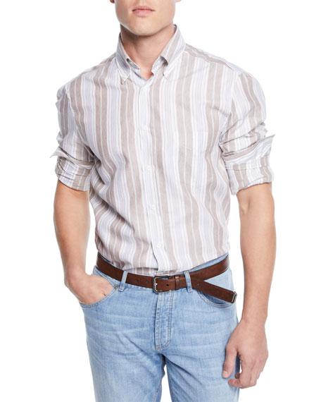 Brunello Cucinelli Men's Linen/Cotton Barcode Stripe Sport Shirt