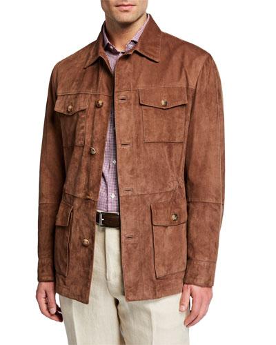 Men's Full-Button Suede Field Jacket