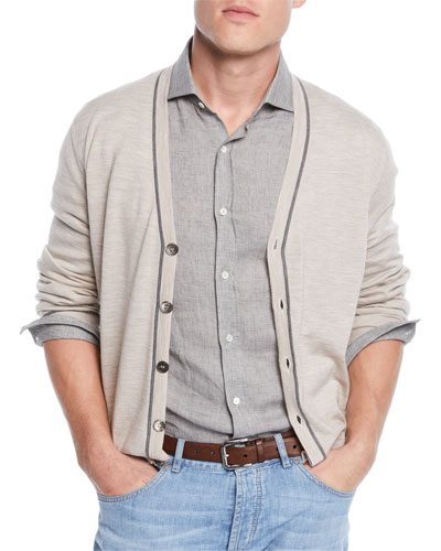 Men's Button Stripe Cardigan