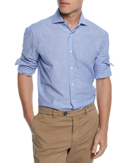 Brunello Cucinelli Men's Basic-Fit French-Collar Sport Shirt