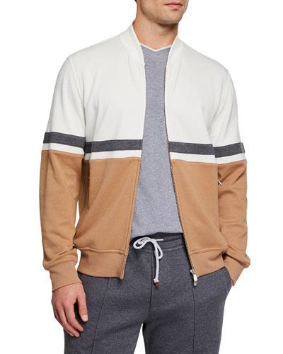 Men's Colorblock Zip-Front Sweater