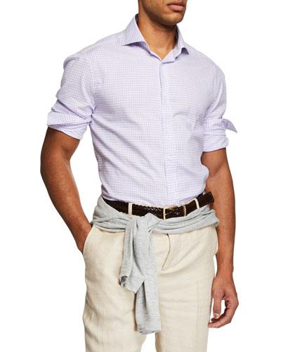 Men's Long-Sleeve Check Woven Sport Shirt
