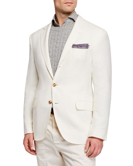 Brunello Cucinelli Men's Hopsack Deconstructed Sport Jacket