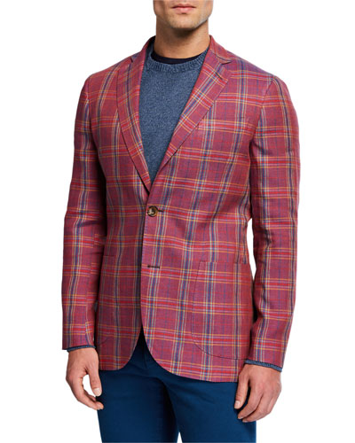 Men's Plaid Linen/Wool Sport Jacket