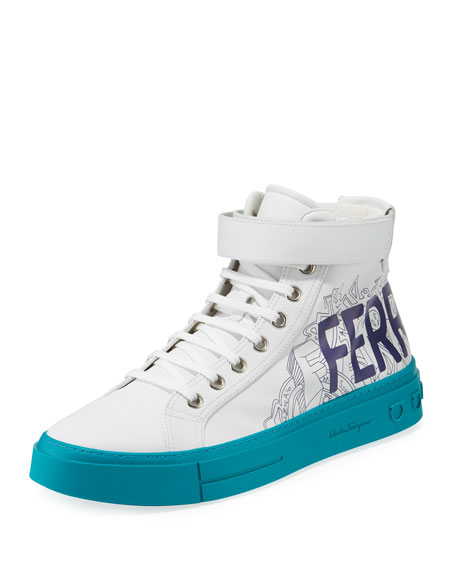 Salvatore Ferragamo Men's Ayr Logo Leather High-Top Sneakers