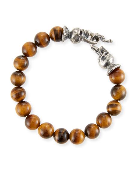 Men's Tiger Eye Sterling Silver Bracelet