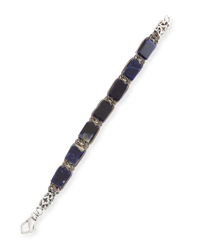Men's Sterling Silver Bracelet with Marble Beads
