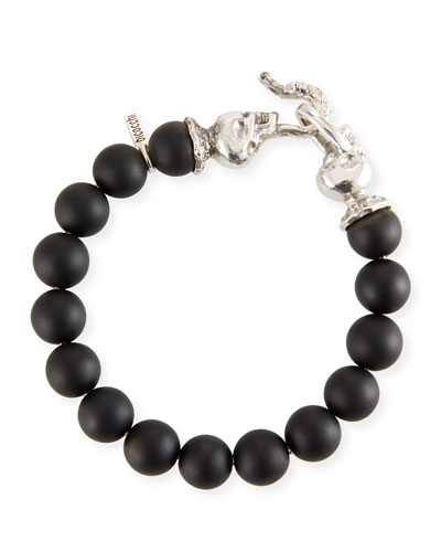 Men's Black Onyx Bead Bracelet