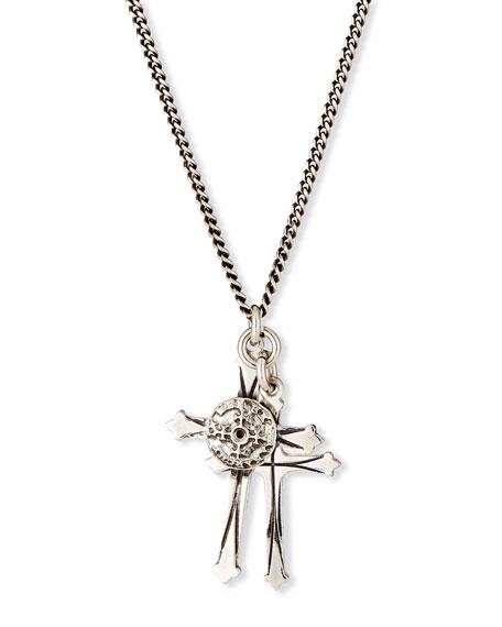 460d3a7bf7 Men's Double Cross Pendant Necklace