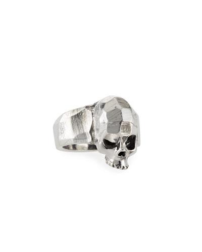 Men's Hammered Skull Ring