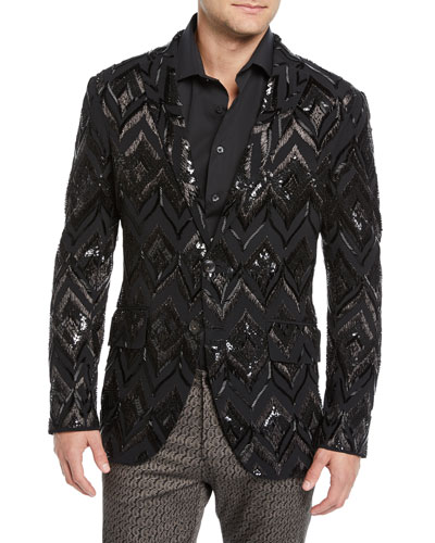 Men's Sport Coat with Glass Detail