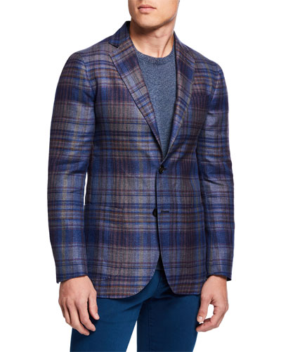 Men's Large-Plaid Hemp/Wool Sport Jacket