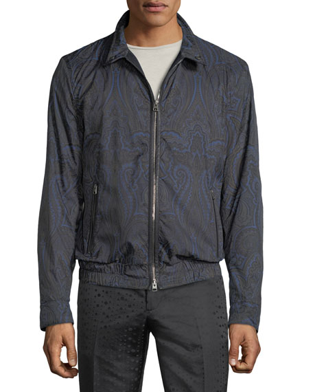 Men's Paisley-Print Blouson Jacket with Leather Trim