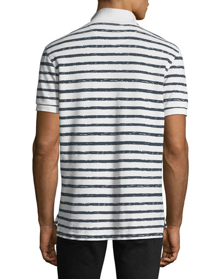 Men's Striped Pique Polo Shirt