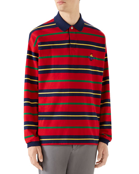 Men's Long-Sleeve Rugby-Striped Polo Shirt