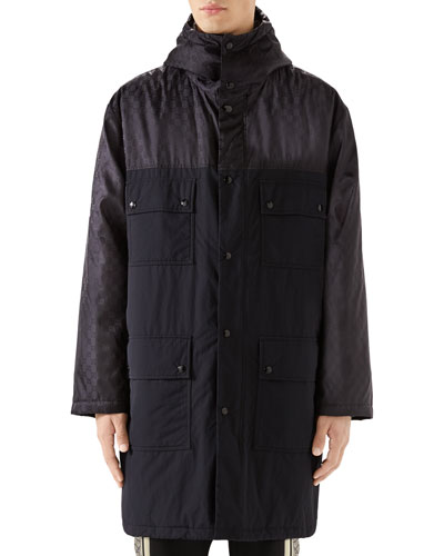 Men's Logo Jacquard Long Anorak Coat