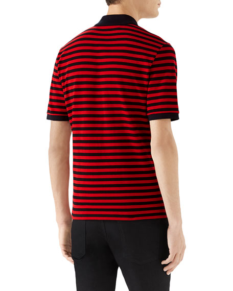 791f83cbfad Gucci Men s Striped Pique Polo Shirt with Patches