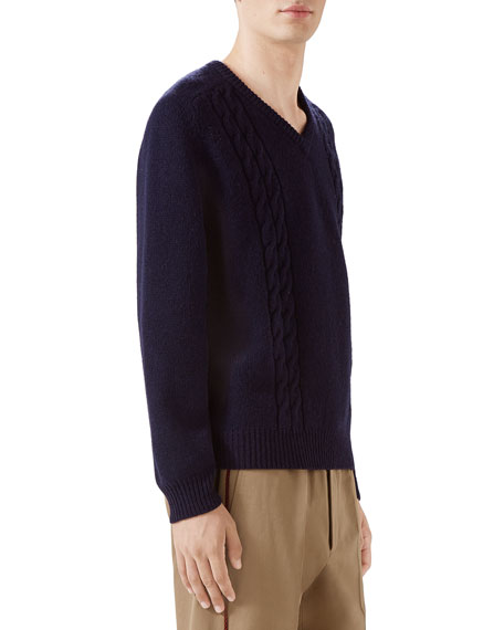 Gucci Mens Cashmere Cable Knit Sweater