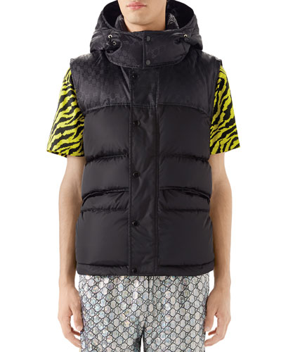 Men's Interlocking-GG Hooded Puffer Vest