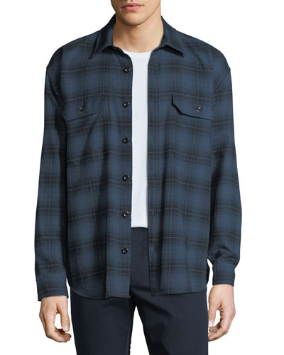 Men's Two-Tone Plaid Overshirt