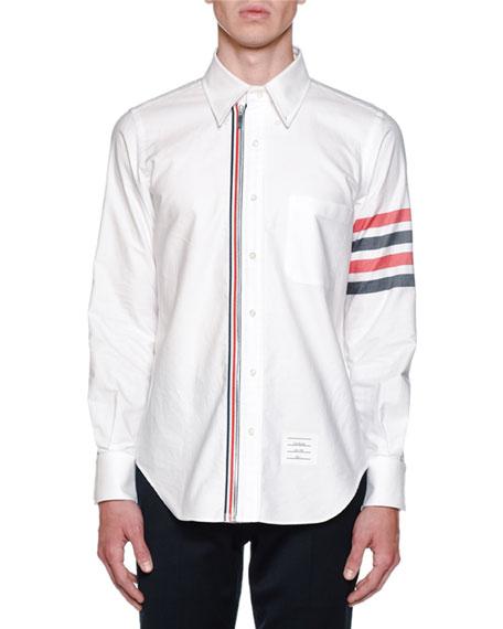 Thom Browne Men's Zip Front Long-Sleeve Shirt