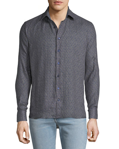 Men's Geometric Woven Sport Shirt