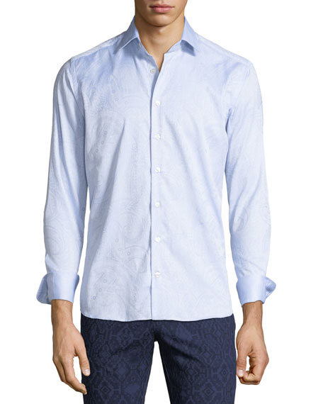 Etro Men's Tonal Paisley Woven Sport Shirt, Blue