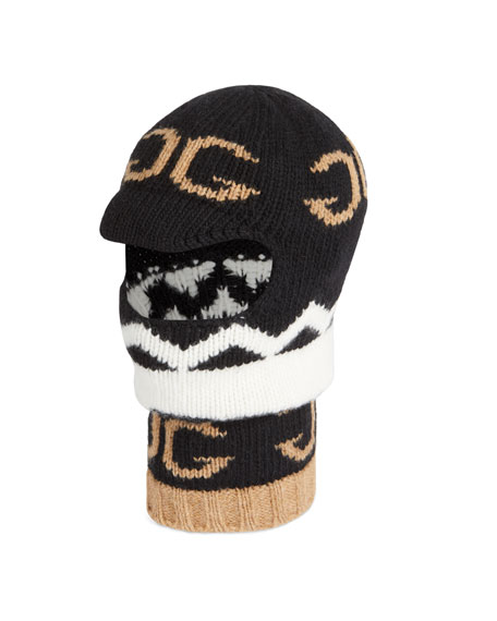 4047d37d4dc16 Gucci Men s Zigzag Mirrored-GG Balaclava Hood Hat