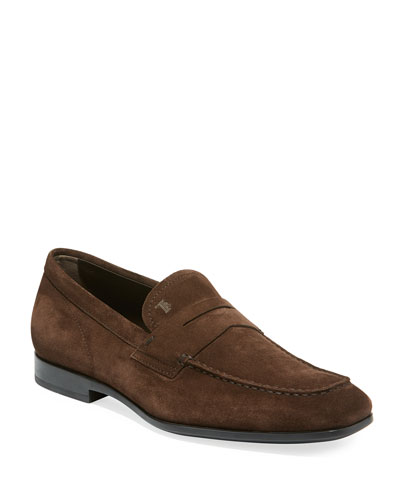 Men's Moccasino Suede Penny Loafers, Brown