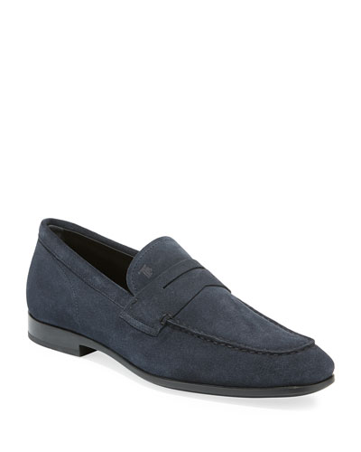 Men's Moccasino Suede Penny Loafers, Blue