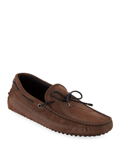 Men's Gommini Nubuck Drivers with Braided Tie  Brown