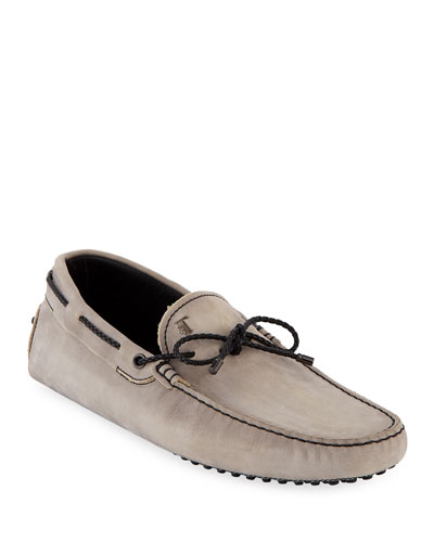Men's Gommini Nubuck Drivers with Braided Tie  Gray